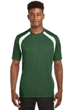Dry Zone Colorblock Crew Forest Green with White Thumbnail