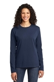 Women's Long Sleeve 5.4-oz 100 Cotton T-shirt Navy Thumbnail