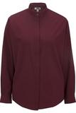 Women's Banded Collar Shirt Burgundy Thumbnail