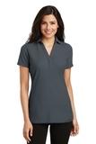 Women's Silk Touch Y-Neck Polo Shirt Steel Grey Thumbnail
