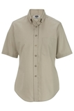 Women's Button Down Poplin Shirt SS Tan Thumbnail