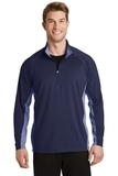 SportWick Stretch Contrast 1/2-Zip Pullover True Navy with True Navy Heather Thumbnail