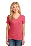 Women's 5.4-oz 100 Cotton V-neck T-shirt Coral Thumbnail