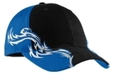 Colorblock Racing Cap With Flames Black with Royal and White Thumbnail