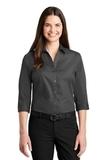 Women's 3/4Sleeve Carefree Poplin Shirt Graphite Thumbnail