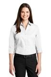 Women's 3/4Sleeve Carefree Poplin Shirt White Thumbnail