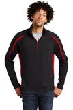 Sport-wick Stretch 1/2-zip Colorblock Pullover Black with True Red Thumbnail