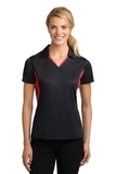 Women's Side Blocked Micropique Polo Shirt Black with True Red Thumbnail