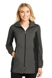 Women's Active Hooded Soft Shell Jacket Grey Steel with Deep Black Thumbnail