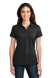 Women's Meridian Cotton Blend Polo Black Thumbnail