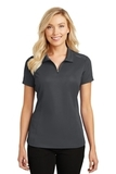 Women's Pinpoint Mesh Zip Polo Battleship Grey Thumbnail