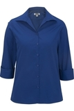 Women's Easy Care Poplin Shirt 3/4 Sleeve Royal Thumbnail