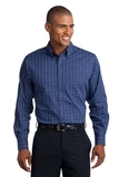 Tattersall Easy Care Shirt Navy with White Thumbnail