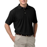 Adult Short Sleeve Pique Polo Shirt With Pocket Black Thumbnail