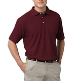 Adult Short Sleeve Pique Polo Shirt With Pocket Burgundy Thumbnail