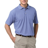 Adult Short Sleeve Pique Polo Shirt With Pocket Light Blue Thumbnail