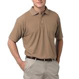 Adult Short Sleeve Pique Polo Shirt With Pocket Tan Thumbnail