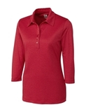 Women's Cutter & Buck DryTec 3/4 Sleeve Chelan Polo Shirt Cardinal Red Heather Thumbnail