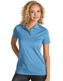Ladies Antigua Quest Polo Columbia Blue with White Thumbnail