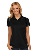Antigua Women's Icon Golf Shirt Black with White Thumbnail
