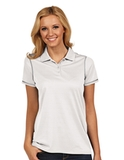 Antigua Women's Icon Golf Shirt White with Silver Thumbnail