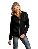 Antigua Women's Leader Jacket Black with Gold Thumbnail