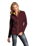 Antigua Women's Leader Jacket Maroon with Gold Thumbnail