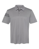 Adidas Heather 3-Stripes Block Golf Shirt Grey Three Thumbnail