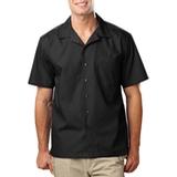 Blended Poplin Solid Camp Shirt Black Thumbnail