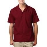 Blended Poplin Solid Camp Shirt Burgundy Thumbnail