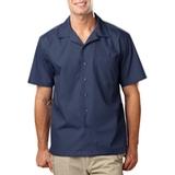 Blended Poplin Solid Camp Shirt Navy Thumbnail