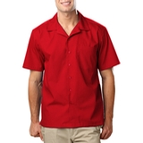 Blended Poplin Solid Camp Shirt Red Thumbnail