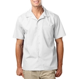 Blended Poplin Solid Camp Shirt White Thumbnail