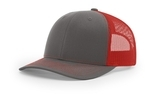 Richardson Mesh Back Trucker Cap Charcoal with Red Thumbnail