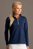 Greg Norman Women's Play Dry 1/4-zip Active Jersey Knit Pullover Navy Thumbnail