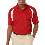 Men's Raglan Wicking Polo Red with White Thumbnail