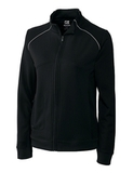 Women's Cutter & Buck DryTec Edge Full-Zip Jacket Black with White Thumbnail