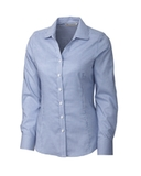 Women's Cutter & Buck Long Sleeve Epic Easy Care Tattersall French Blue Thumbnail