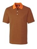 Cutter & Buck Men's DryTec Trevor Stripe Polo Shirt Orange Burst with Navy Thumbnail