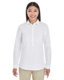 Women's Devon & Jones Perfect Fit Half-placket Tunic Top White Thumbnail