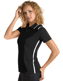 Women's Antigua Merit Desert Dry Polo Black with White Thumbnail