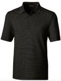 Forge Polo Pencil Stripe Big and Tall Black Thumbnail