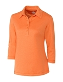 Women's Cutter & Buck DryTec 3/4 Sleeve Chelan Polo Shirt Orange Burst Heather Thumbnail