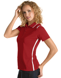 Women's Antigua Merit Desert Dry Polo Dark Red with White Thumbnail