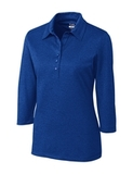 Women's Cutter & Buck DryTec 3/4 Sleeve Chelan Polo Shirt Tour Blue Heather Thumbnail