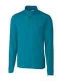Cutter & Buck Long Sleeve Advantage Half-Zip Mock Turtleneck Teal Blue Thumbnail