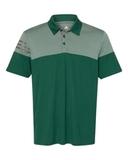 Adidas Heather 3-Stripes Block Golf Shirt Collegiate Green Thumbnail