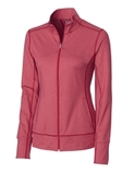 Women's Cutter & Buck Drytec Long Sleeve Topspin Full-zip Pullover Cardinal Red Heather Thumbnail
