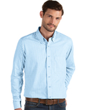 Antigua Men's Structure Dress Shirt Columbia Blue with White Thumbnail