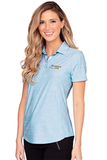 Women's Greg Norman Play Dry Heather Solid Polo Blue Mist Heather Thumbnail